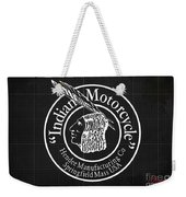 Indian Motorcycle Old Vintage Logo Blueprint Background Weekender Tote Bag