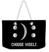 Inspirational Tshirt Happy Or Sad Emoticon Choose Wisely Weekender Tote Bag