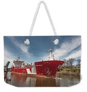 Iver Bright Tanker On The Manistee River Weekender Tote Bag