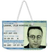 John Lennon Immigration Green Card 1976 Weekender Tote Bag