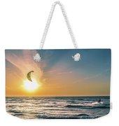 Kitesurfing At Sunset Weekender Tote Bag by Michael Goyberg