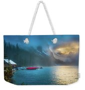 Lake Louise Canoes In The Morning Weekender Tote Bag