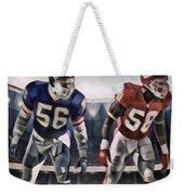 Lawrence Taylor New York Giants And Derrick Thomas Kansas City Chiefs Abstract Art 1 Weekender Tote Bag