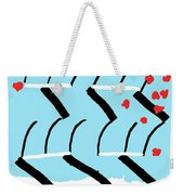 Light Blue Red  Weekender Tote Bag