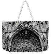Lincoln Cathedral Side Entrance Monochrome Weekender Tote Bag by Scott Lyons