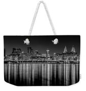 Liverpool Skyline In The Night Black And White Weekender Tote Bag