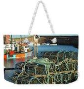 lobster pots and trawlers at Dunbar harbour Weekender Tote Bag