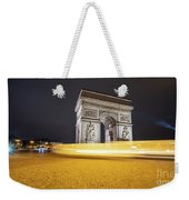 Long Exposure Picture Of Paris Arch De Triomphe At Night   Weekender Tote Bag