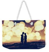 Loving Couple Standing In A Cozy Winter Scenery. Weekender Tote Bag