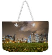 Low Angle Picture Of Downtown Chicago Skyline During Winter Nigh Weekender Tote Bag