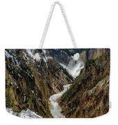 Lower Falls In Yellowstone Weekender Tote Bag