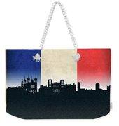 Lyon France City Skyline Flag Weekender Tote Bag