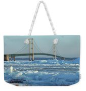 Mackinac Bridge In Ice 2161801 Weekender Tote Bag by Rick Veldman