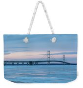 Mackinac Bridge In Ice 2161803 Weekender Tote Bag by Rick Veldman