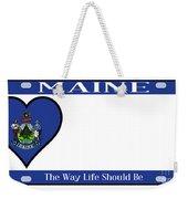 Maine State License Plate Weekender Tote Bag