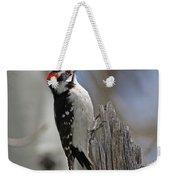 Male Downy Woodpecker Weekender Tote Bag