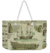 Man Of War Ship Diagram - German - 18th Century Weekender Tote Bag