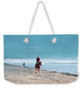 Man Riding On A Brown Galloping Horse On Ayia Erini Beach In Cyp Weekender Tote Bag