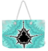 Mandelbrot Fractal Black Aqua White Vertical Weekender Tote Bag