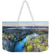 Manistee River Evening Aerial Weekender Tote Bag
