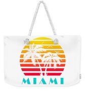 Miami 80s Tropical Sunset Weekender Tote Bag