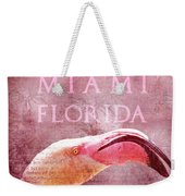 Miami Florida- Pink Flamingo Weekender Tote Bag
