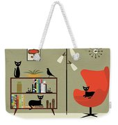 Mid Century Bookcase Room Weekender Tote Bag by Donna Mibus