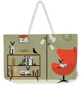 Mid Century Bookcase Room With Siamese Weekender Tote Bag by Donna Mibus