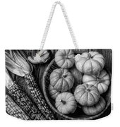 Mimi Pumpkins In Wicker Bowl Black And White Weekender Tote Bag