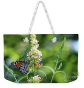 Monarch On White Butterfly Bush Weekender Tote Bag