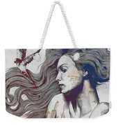 Monument - Red 'n Blue - Sleeping Beauty, Woman With Skyline Tattoo And Bird Weekender Tote Bag