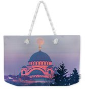 Moon On Top Of The Cross Of The Magnificent St. Sava Temple In Belgrade Weekender Tote Bag