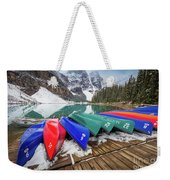 Moraine Lake Canoes Weekender Tote Bag