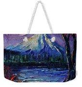 Mount Fuji - Textural Impressionist Palette Knife Impasto Oil Painting Mona Edulesco Weekender Tote Bag