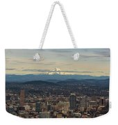 Mount Hood View Over Portland Cityscape Weekender Tote Bag