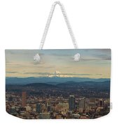 Mount Hood View Over Portland Cityscape Panorama Weekender Tote Bag