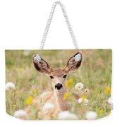 Mule Deer Fawn Lying In Wildflowers Weekender Tote Bag