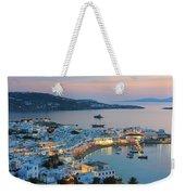 Mykonos Town At Sunset Mykonos Cyclades Greece  Weekender Tote Bag