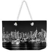 New York City Nyc Skyline Midtown Manhattan At Night Black And White Weekender Tote Bag