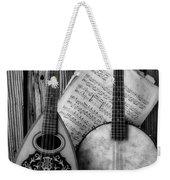 Old Banjo And Mandolin Black And White Weekender Tote Bag