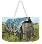 old boat hut at Lindisfarne island Weekender Tote Bag