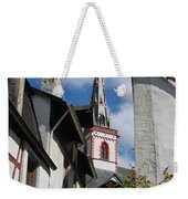 old historic church spire and houses in Ediger Germany Weekender Tote Bag