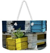 Old Pallet Painted White, Blue And Yellow Used As Flower Pot Weekender Tote Bag