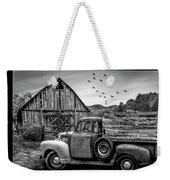 Old Truck At The Barn Bordered Black And White Weekender Tote Bag