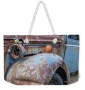 Old Vintage Blue Pickup Truck Among The Weeds Weekender Tote Bag