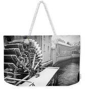 Old Water Wheel Certovka Canal Prague Black And White Weekender Tote Bag