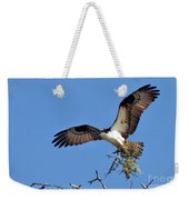 Osprey With Nesting Materials Weekender Tote Bag by Debbie Stahre