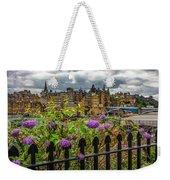 Overlooking The Train Station In Edinburgh Weekender Tote Bag