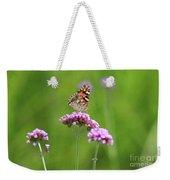 Painted Lady Butterfly In Green Field Weekender Tote Bag