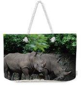 Pair Of Rhinos Standing In The Shade Of Trees Weekender Tote Bag